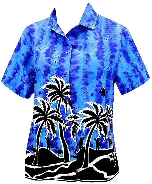 botón de la Camisa Hawaiana Blusas por Las Mujeres del Vestido de Cuello Mangas Cortas Campo Azul: Amazon.es: Ropa y accesorios