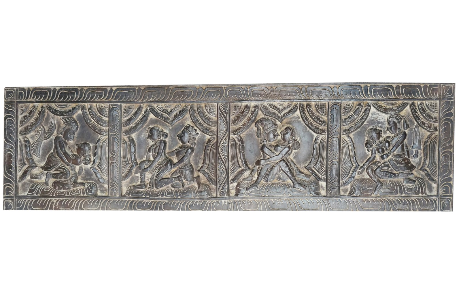 Antique Headboard Kamasutra Love Posture Wall Sculpture, Eclectic Decor, Wall Hanging