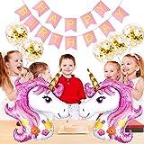 SPECOOL Suministros de decoración de Fiesta de Unicornio Globos de Unicornio, cumpleaños Carta Banner Fiesta de cumpleaños de los niños decoración Fishtail Pull Flag Bunting (Pink)