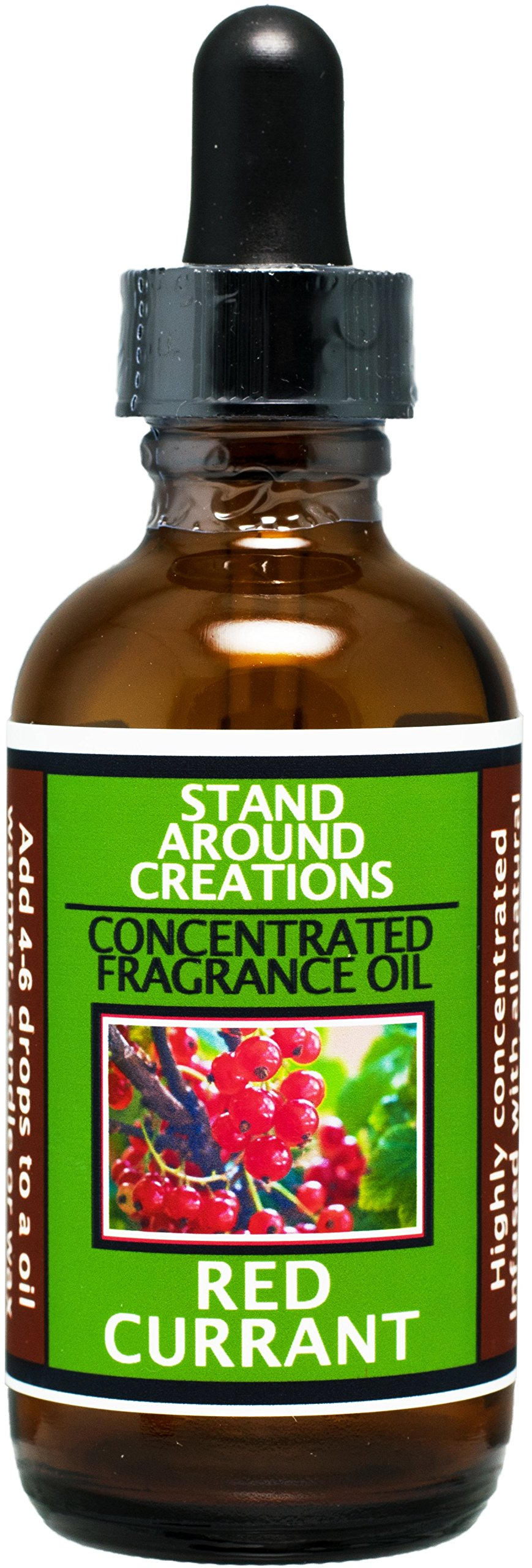Concentrated Fragrance Oil - Red Currant - A punchy note of tart red currant blended w/green and floral notes of jasmine, and geranium.Infused w/essential oils. (2 fl.oz.)