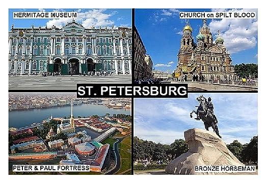 IMÁN PARA NEVERA - RECUERDO de ST. PETERSBURG RUSSIA 9cm x 6cm ...