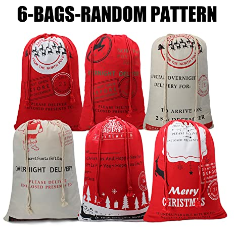 Amazon.com: 6 Pack of Christmas Gift Bag From North Pole Santa Gift ...