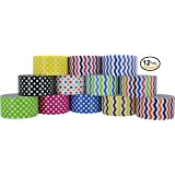 RamPro Chevron & Polka Dot Styles Heavy-Duty Duct Tape | Assorted Colors Pack of 12 Rolls, 1.88-inch x 10 Yard.