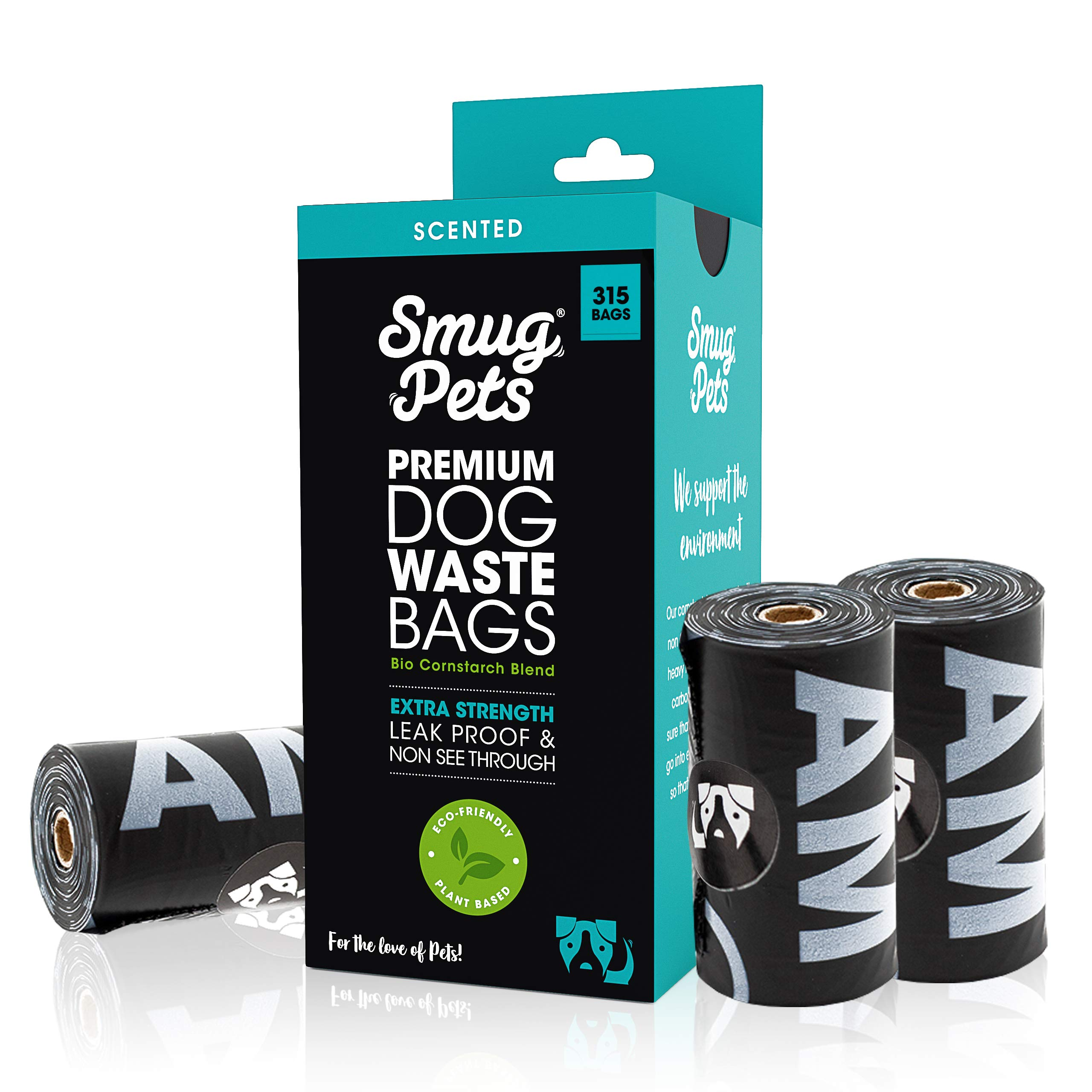 SmugPets - 315 Bolsas biodegradables para excrementos - Extragrandes y perfumadas product image