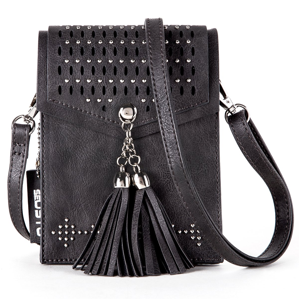 Women Small Crossbody Bag, seOSTO Tassel Cell Phone Purse Wallet Bags (Black) by seOSTO