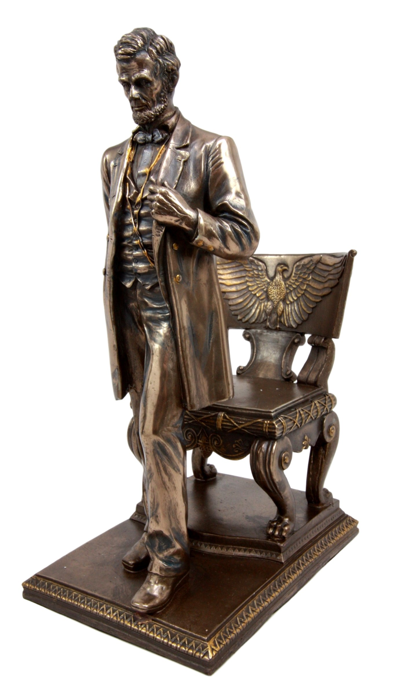 Ebros United States Of America 16th President Abraham Lincoln Standing By Eagle Chair of State Abraham Lincoln White House Historical Figurine 9''H