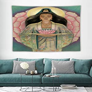 "VinMea Kuan-Yin-Pink-Lotus-Heart-Sue-Halstenberg Wall Hanging Pictures Tapestry Home Decoration for Bedroom Living Room 150 X100cm (59""X39"")"