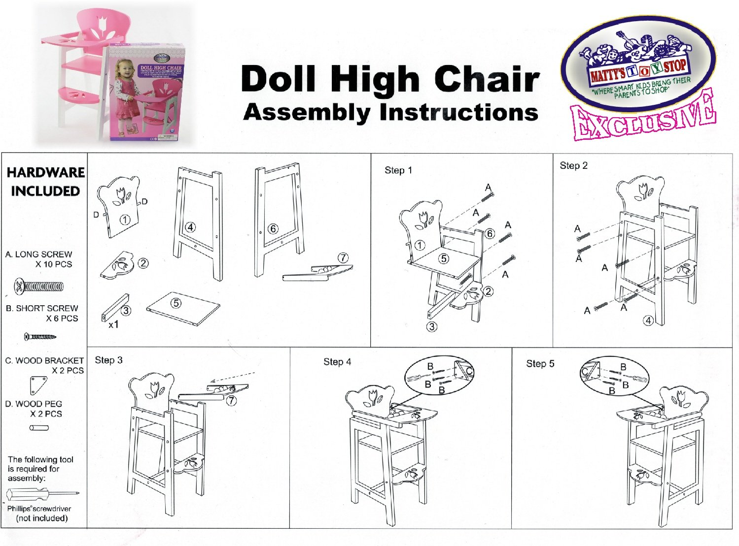 Mattys Toy Stop 18 Inch Pink//White Wooden Doll High Chair with Lift-Up Tray /& Floral Design Fits American Girl Dolls Homeware