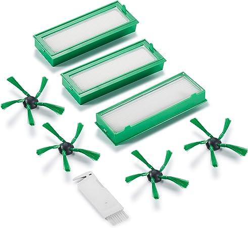 Supremery 8x pezzi di ricambio per aspirapolvere robot Vorwerk Kobold VR200 VR300 3 filtri hepa filtro allergia e 4 spazzole laterali