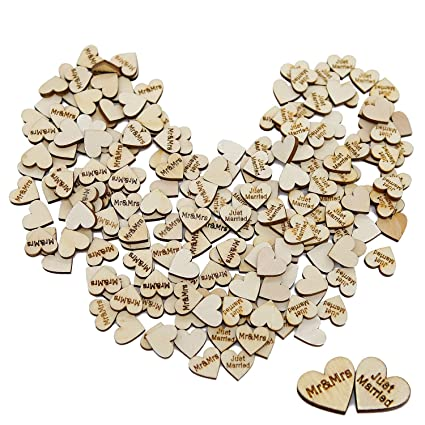 Goldenlight 200pcs Small Wooden Hearts Love Mr And Mrs Just Married Letters For Wedding Table Scatter Decoration Guest Book Crafts Bulk Rustic