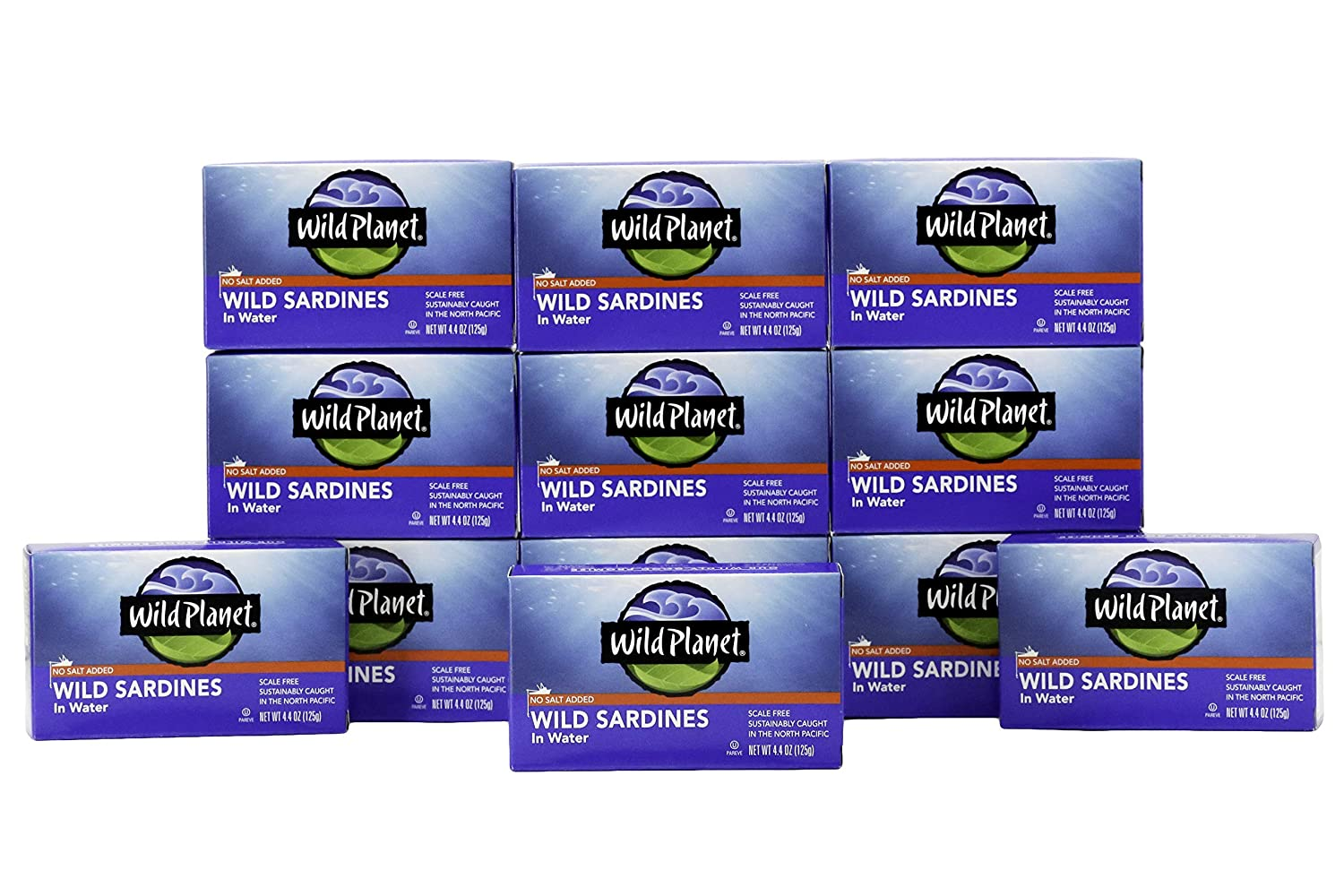 Wild Planet Sardines in Water, No Salt Added, Keto and Paleo, 4.4 Ounce (Pack of 12)