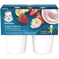 Gerber Yogurt Blends Snack, Strawberry Banana (4 Count of 3.5 Ounce Cups), Pack...