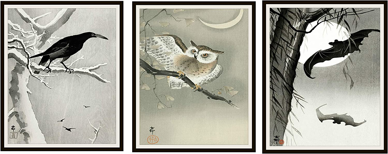 Paper Moon Media Set of 3 Vintage Halloween Watercolor Art Print Posters,Owl, Crow and Bats Autumn Wall Art, Halloween Decor 8 x 10, Unframed