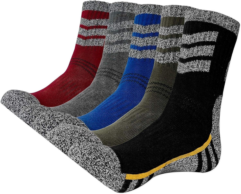 KONY Men's Trekking Hiking Socks, Cotton Moisture Wicking Thick Cushioned Outdoor Crew Socks, Mid Calf, All Season Gift