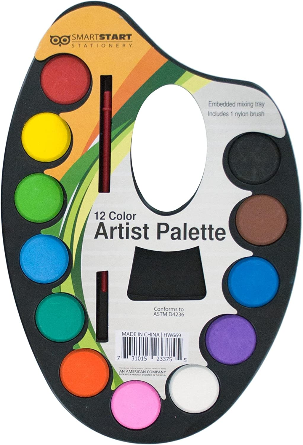 Kole Imports HW669 Watercolor Paint Artist Palette with Mixing Tray