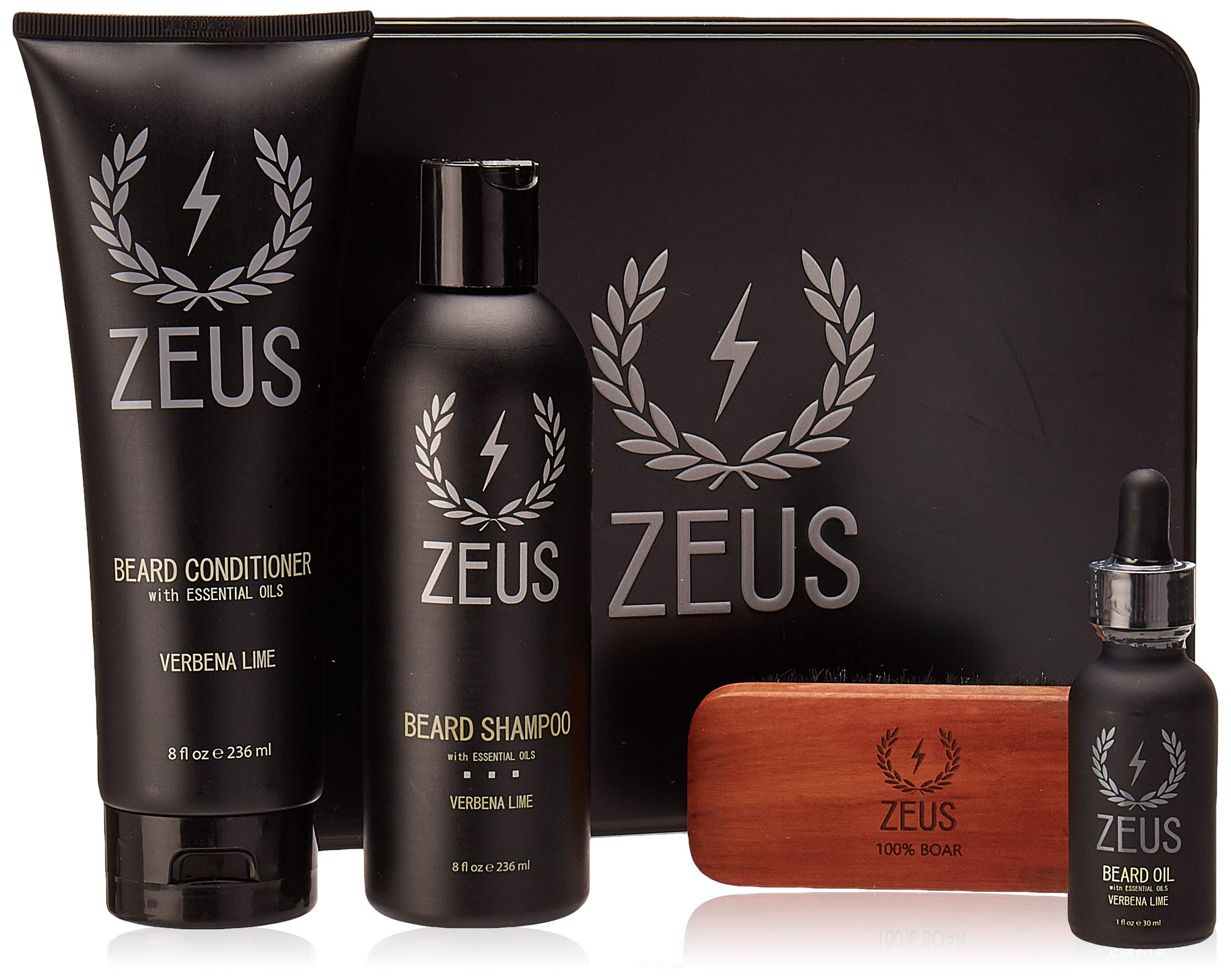 ZEUS Deluxe Beard Grooming Kit for Men - Beard Care Gift Set to Soften Hairs and Prevent Itchiness and Dandruff (Verbena Lime) by ZEUS