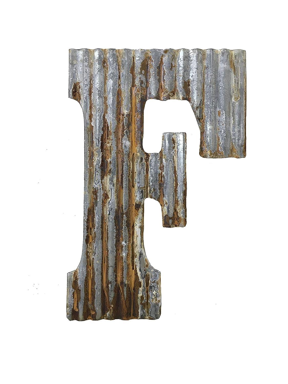 Farmhouse Rustic 24'' Wall Decor Corrugated Metal Letter F