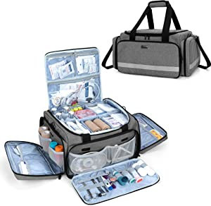 Trunab First Responder Bag Empty, Professional Medical Supplies Bag First Aid Kits Bag with Inner Dividers for Home Health Nurse, Community Care, EMT, EMS, Bag Only, Grey - Patented Design