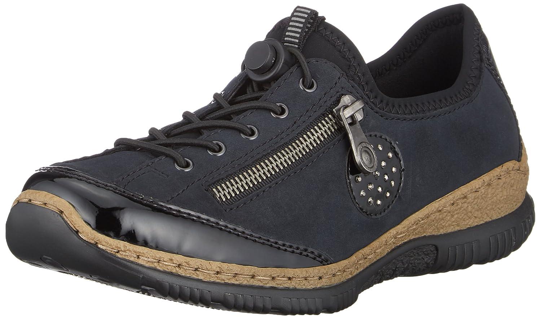 Rieker Damen N3268 Slip On Sneaker Blau (Schwarz/Pazifik/Baltik/Schwarz 01)