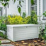 165 Gallon Weather Resistant Resin Deck Storage Container Box Outdoor Patio Garden Furniture, White