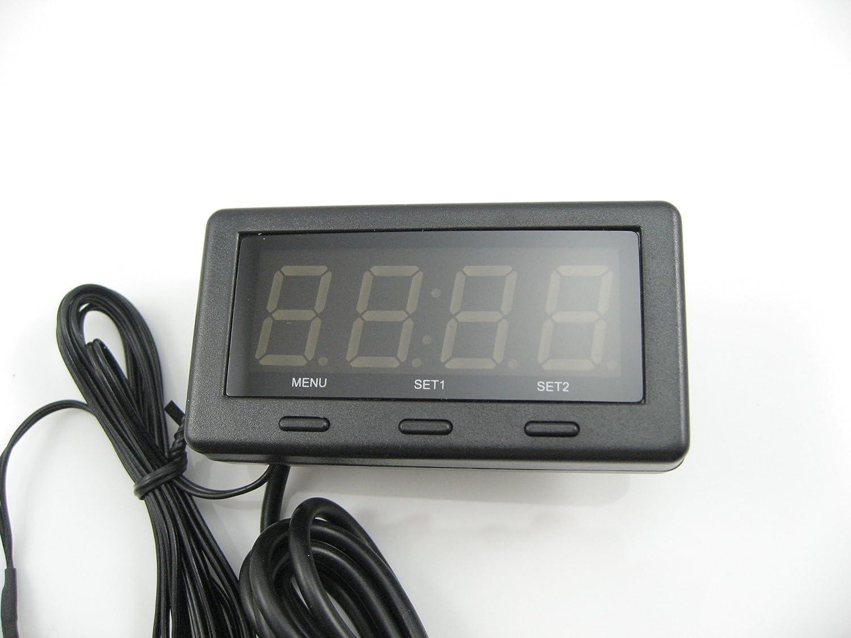 3 in 1 Digital blue LED Car Auto dashboard Clock/Voltage/Thermometer Internal/external for 12V/24V Car Voltmeter Panel-Meter superzubehoer
