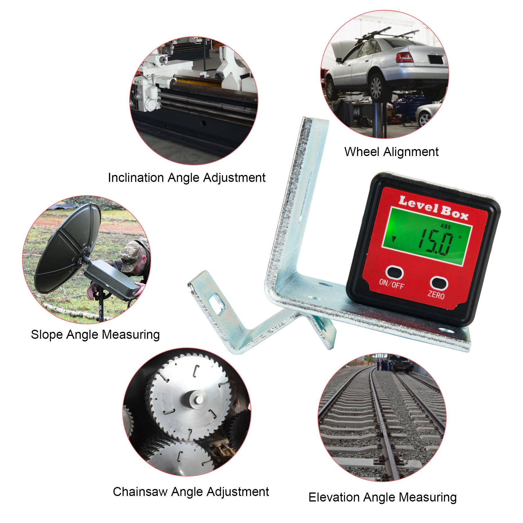 CO-Z Digital Angle Gauge/Level/Protractor/Angle Finder/Bevel Gauge/Inclinometer/with Backlight and Magnetic Base, Electronic Angle Finding for Table Miter Brand Saw, Accurate Digital Level