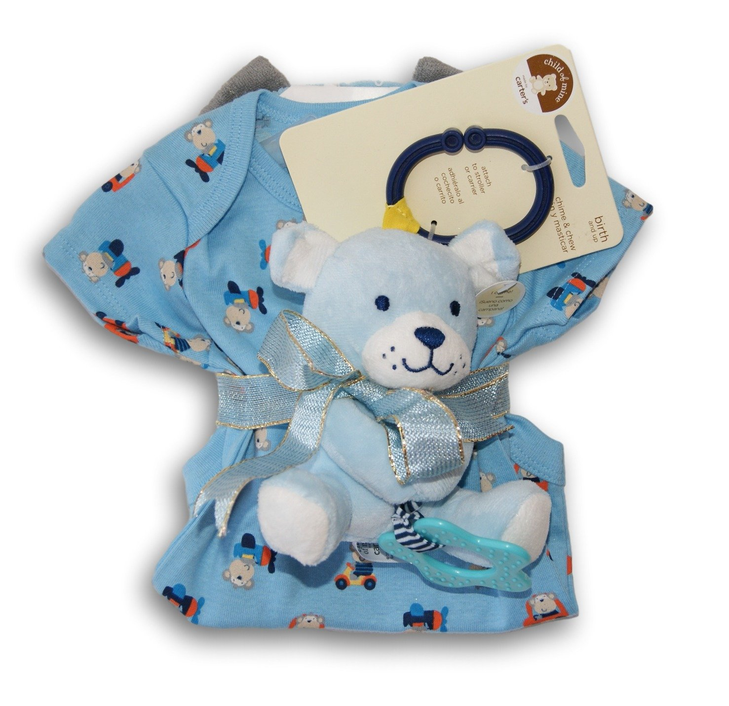 Amazon.com : Baby Boy Blue Gift Set - Onesie, Rattling Teether, Bath Mitt : Baby