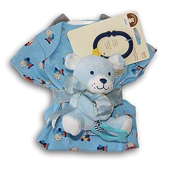 Amazon.com : Baby Boy Blue Gift Set - Onesie, Rattling Teether, Bath Mitt : Baby