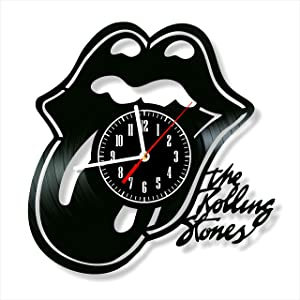 "Rolling Stones Clock Vinyl Clock, Rolling Stones Wall Clock 12"", Unique Original Art Decor, The Best Home Decorations"