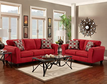 Roundhill Furniture Microfiber Sofa And Loveseat Set With Pillows, Patriot  Red