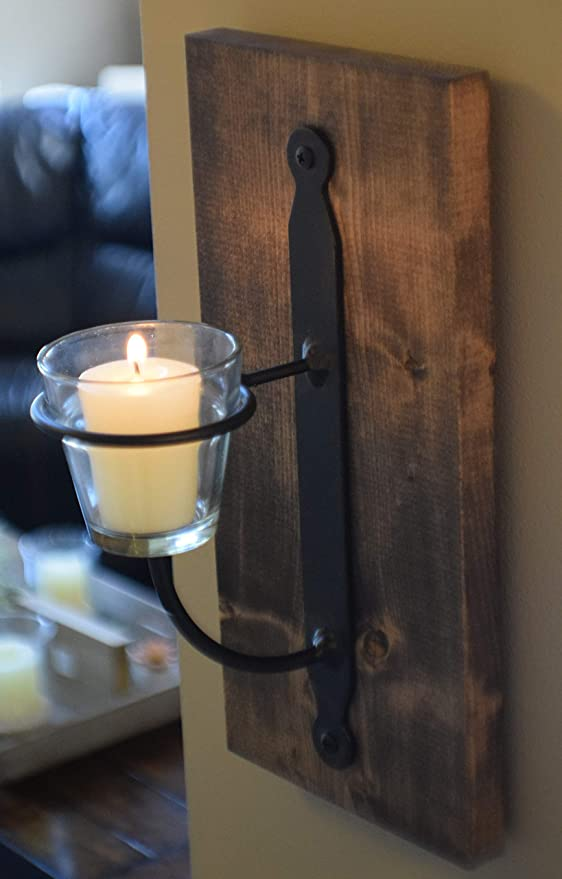 Country Candle Holder Sconce Rustic Farmhouse Wall Art Home Decor 1-Pc