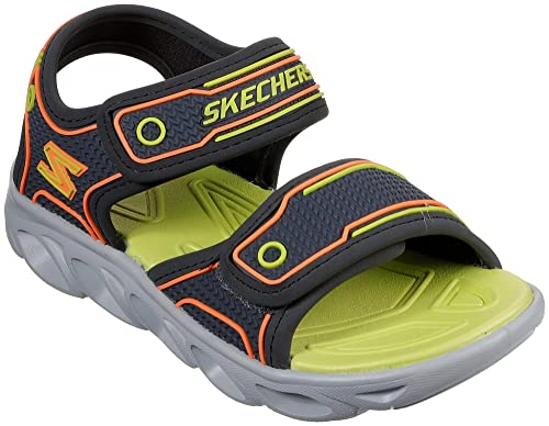 Skechers Kids Boys' Hypno-Splash Sandal, Charcoal/Lime, 1 Medium US Little Kid