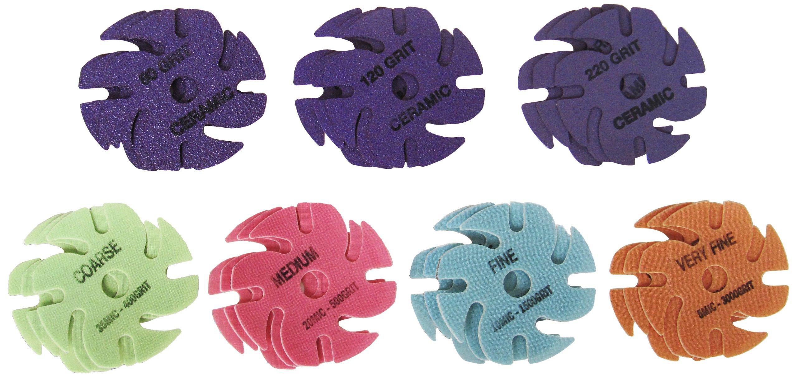 JoolTool 3M Cubitron Ceramic Purple & Trizact: 21 Piece Deluxe Abrasive Disc Kit, 3'' Diameter by JoolTool (Image #1)