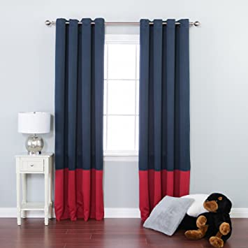 Best Home Fashion Colorblock Thermal Insulated Blackout Curtains   Antique  Bronze Grommet Top   Navy/