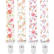 Stadela Baby Pacifier Clip Leash Soothie Teething Ring and Teether Toy Holder for Girl 4 Pack Baby Shower Birthday Gift Set Shabby Chic Watercolor Floral Flowers Bloom