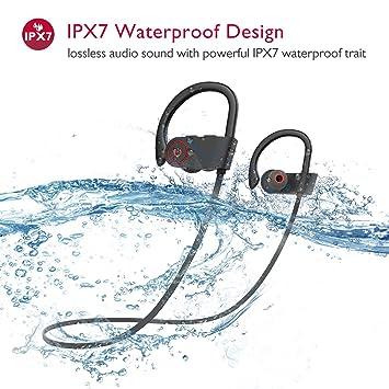 COULAX 4.1 Auriculares inalámbricos deportivos Auriculares Bluetooth IPX7 Auriculares impermeables en auriculares con micrófono Auriculares impermeables ...