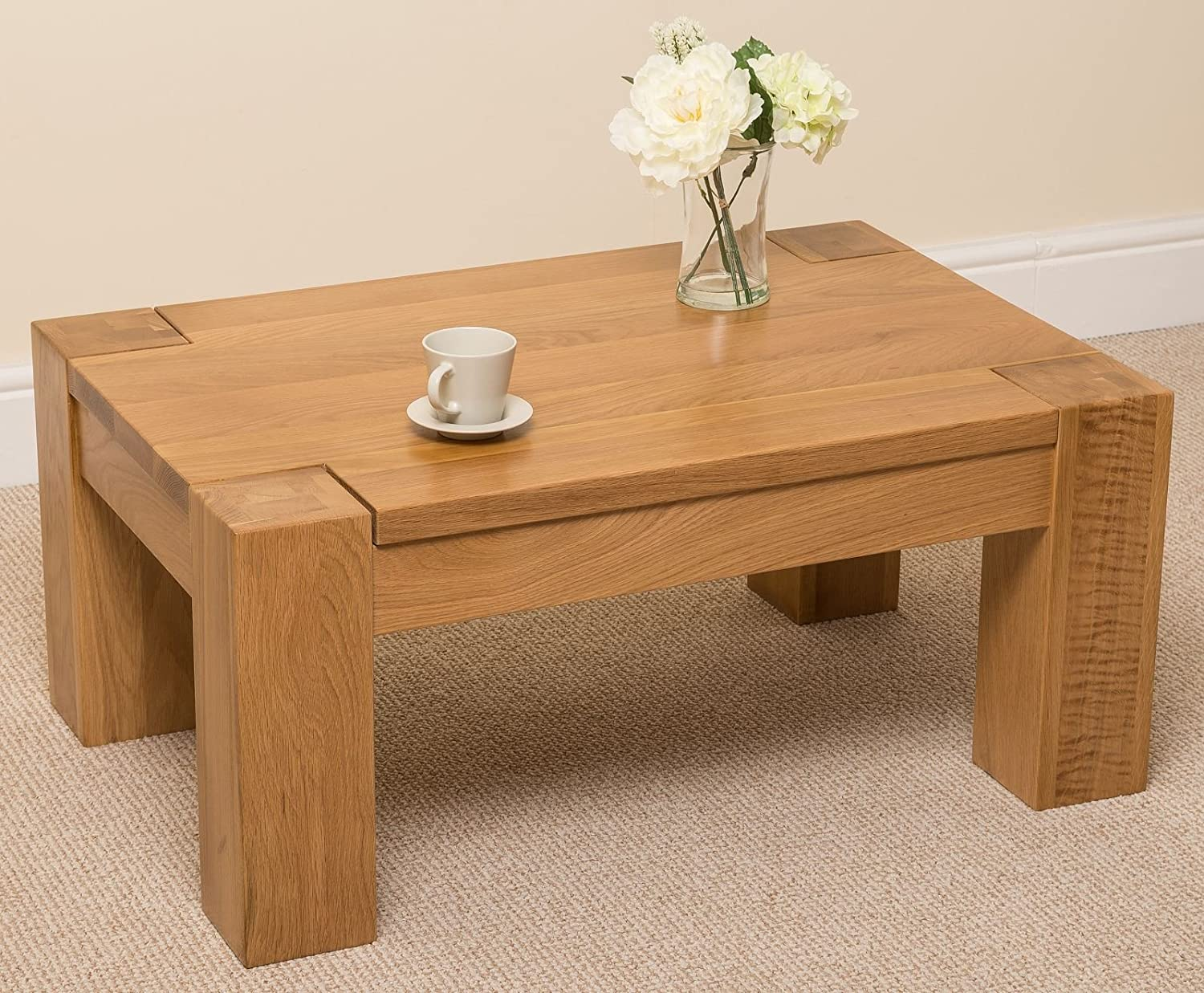Kuba Chunky Solid Oak Wood Large Coffee Table Unit Wooden Living Room 90 X 40 60cm Amazoncouk Kitchen Home