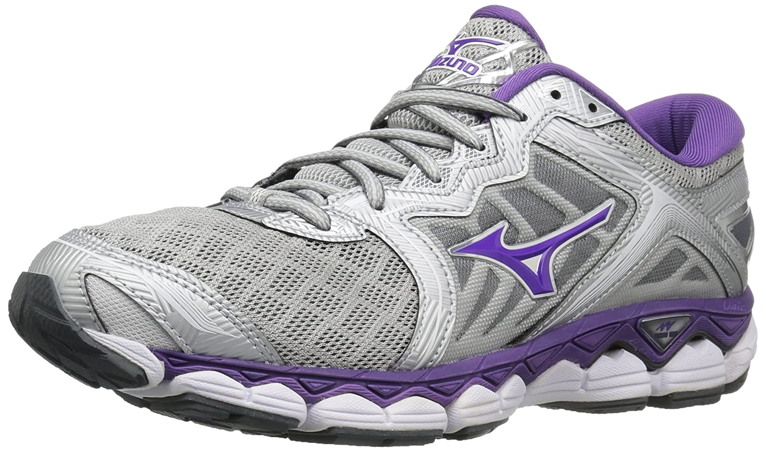 Mizuno Women's Wave Sky Running-Shoes B01N2R4HUK 9.5 B(M) US|Silver/Pansy/Castle Rock