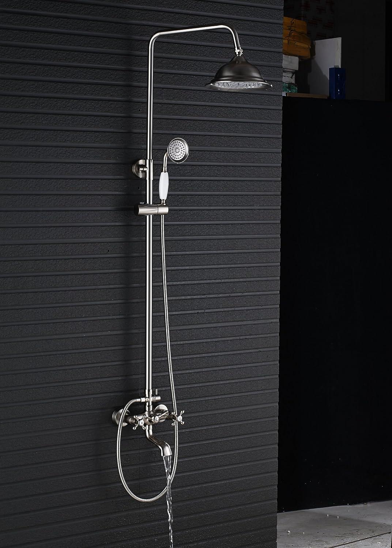 Rozin Bathroom Tub Shower Faucet Set 8-inch Rain Shower Head Handheld Spray Antique Copper