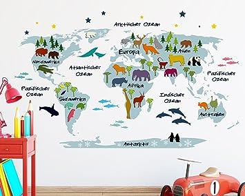 Wandtattoo Weltkarte Für Kinder In Blau Mit Bunten Tieren (110 X 179 Cm (HxB