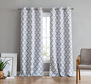 HLC.ME Lattice Print Thermal Insulated Room Darkening Blackout Grommet Window Curtain Panels for Bedroom - Set of 2-37 W x 84 L - Platinum White & Grey