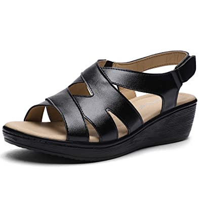 6c18b063aa CINAK Womens Wedge Sandals Velcro Shoes-Comfort Platform Hook and Loop  Summer Flats Ladies Slip
