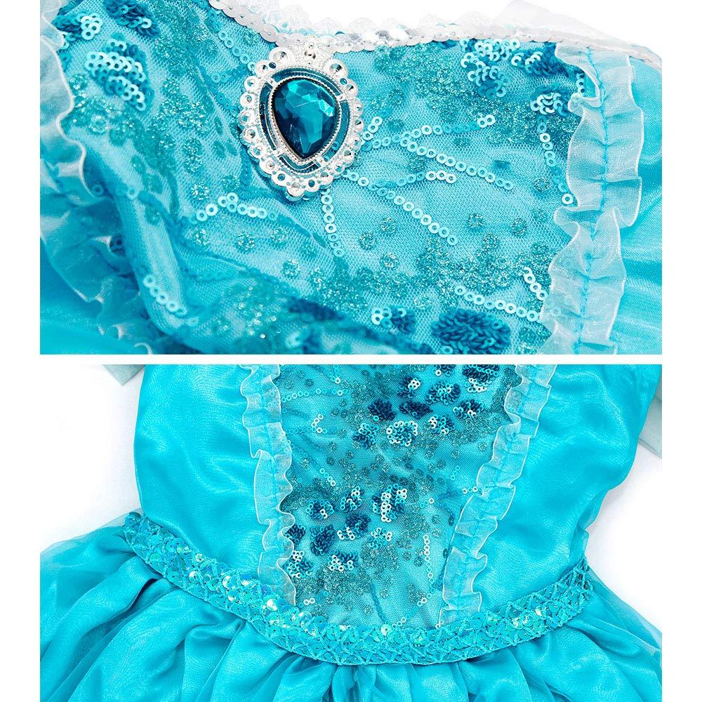 Cotrio Elsa Princess Dress Kids Girls Snow Queen Costume with Accessories