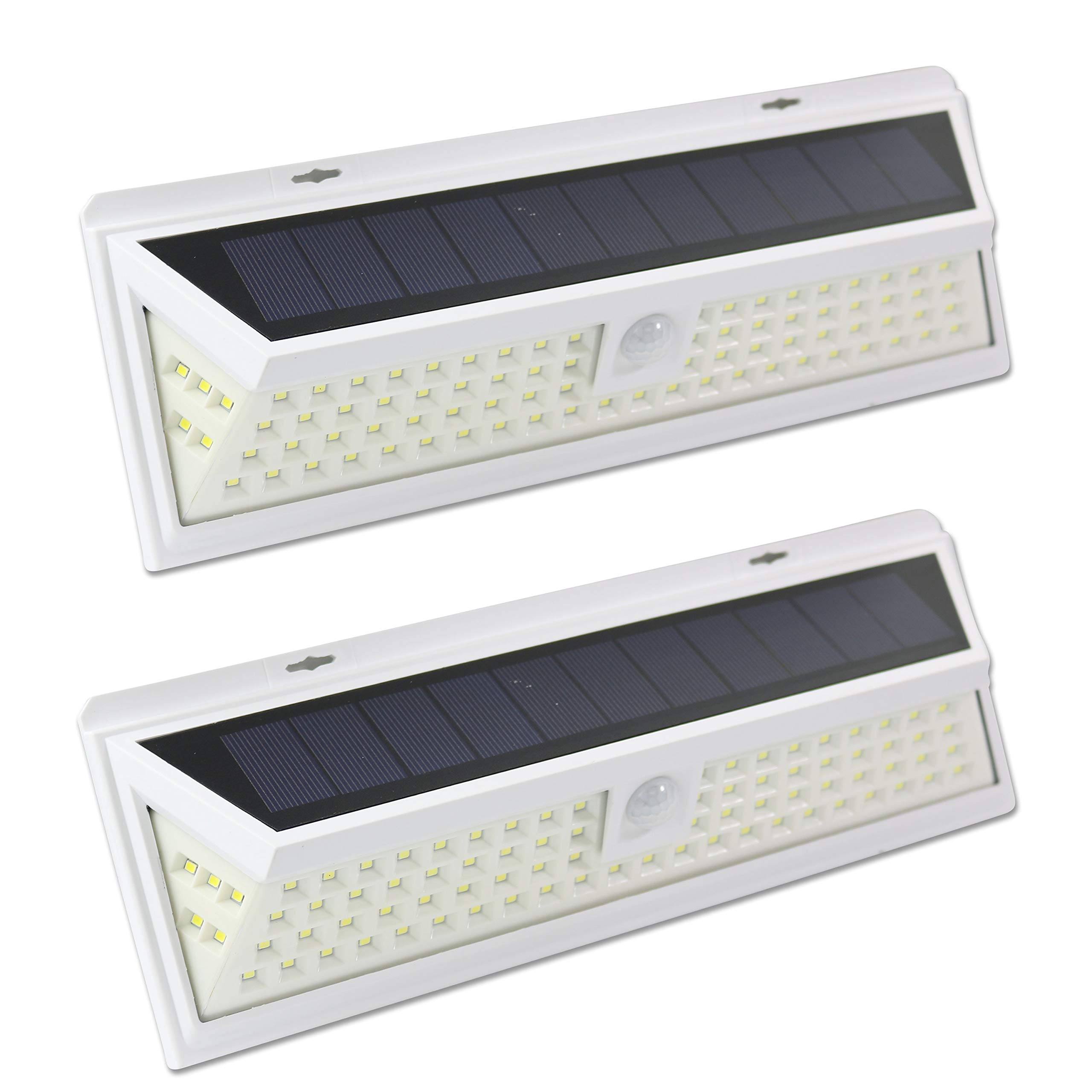 Leisure LED 86 LED Wall Solar Light Outdoor Security Lighting Nightlight with Motion Sensor Detector for Garden Back Door Step Stair Deck Yard Driveway RV Trailer Motor-Home (White, 2-Pack 86-LED)