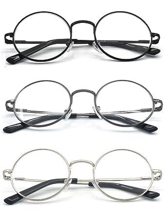 14c69c5db11 Eye-Zoom® 3 Pack Metal Frame Round Reading Glasses with Spring Hinge (Black