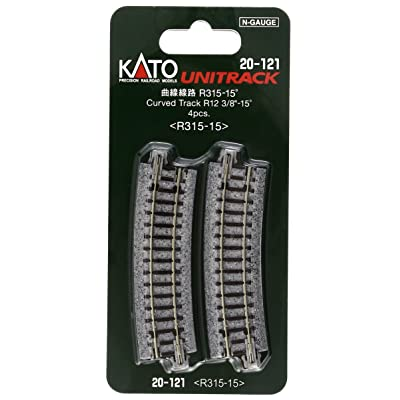 "Kato USA Model Train Products Unitrack, 315mm (12 3/8"") Radius 15-Degree Curve Track (4-Piece): Toys & Games"