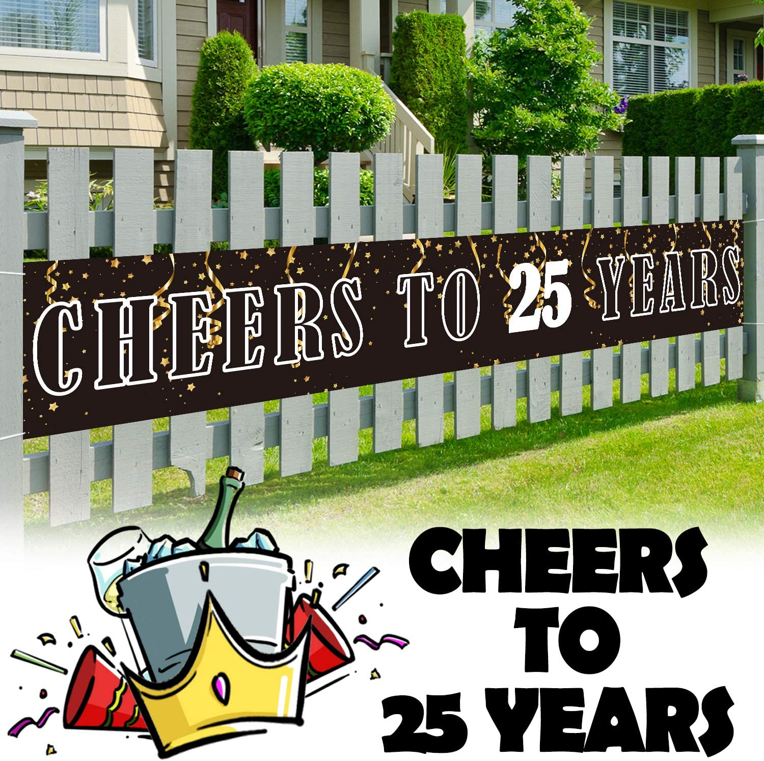 LINGPAR 9.8 x 1.6 ft Large Sign Birthday Or Wedding Anniversary Decor - Cheers to 25 Years Banner