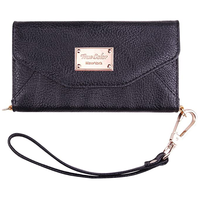 buy online b3d13 7977f True Color Case Compatible with iPhone 6s Plus Wallet Case, Premium  Leatherette Wristlet Clutch Folio Tri-Fold Wallet Purse Case Cover with  Removable ...