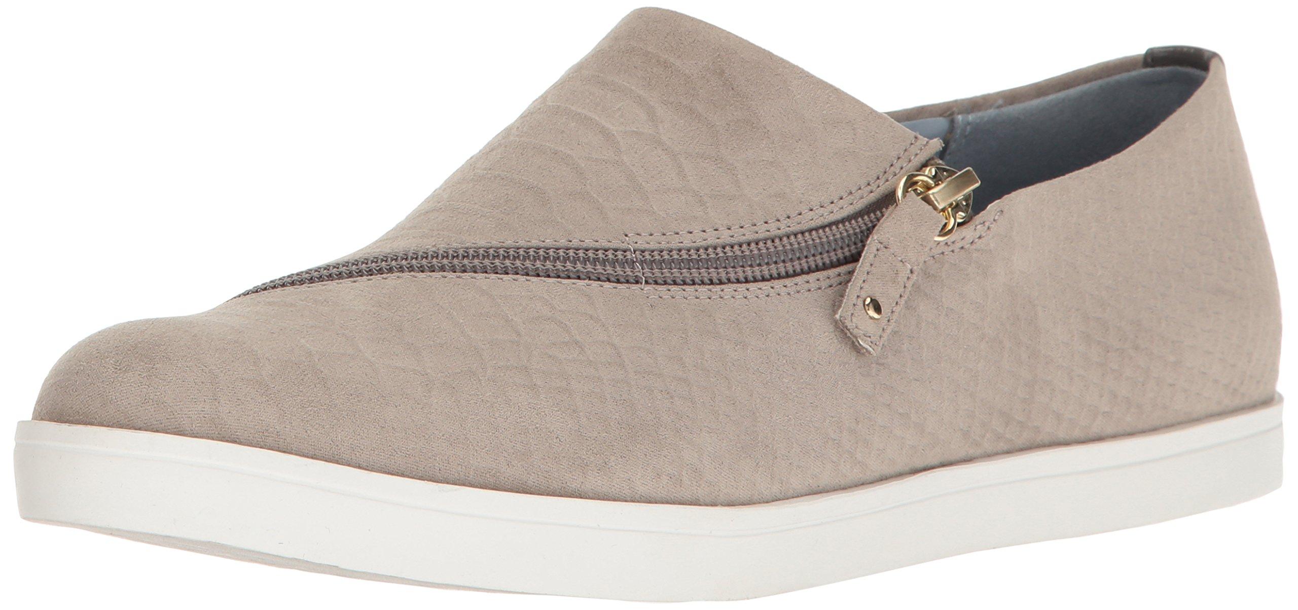 Dr. Scholl's Women's Repeat Zip Fashion Sneaker, Grey Microsuede Snake, 6.5 M US