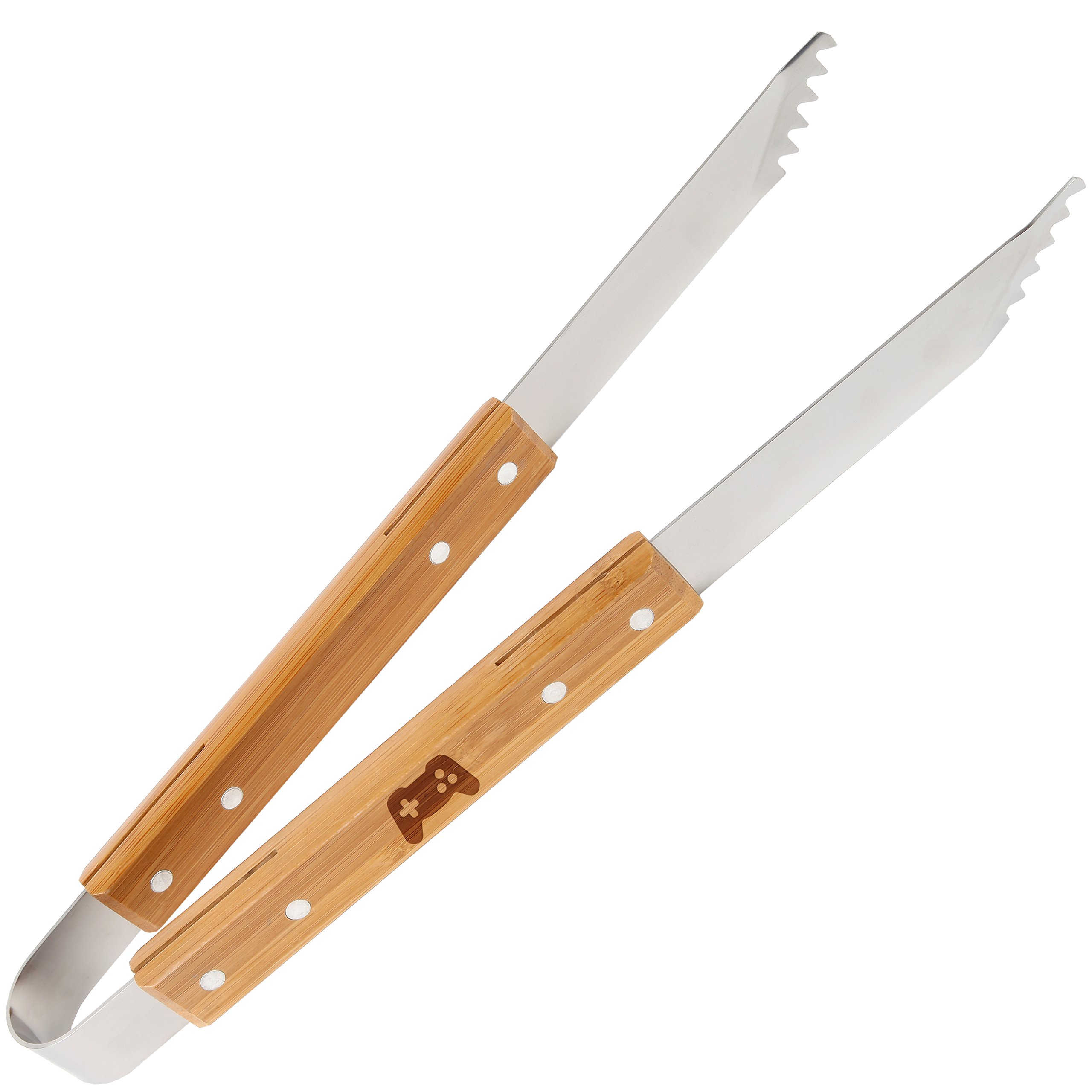 Video Game Controller Wooden Accessories Company Stainless Steel Grill Tongs With Laser Engraved Design - 16 Inch Bbq Grill Tongs With Wooden Handle - Grilling Gifts For Women And Men